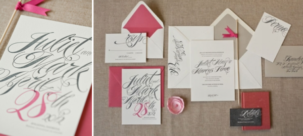 grey and bright pink stationery
